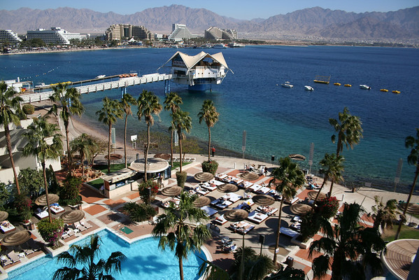 View from our hotel balcony at the Le Meridian in Eilat, Israel