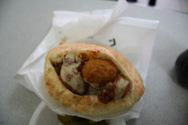 The first of many excellent felafel sandwiches in Israel